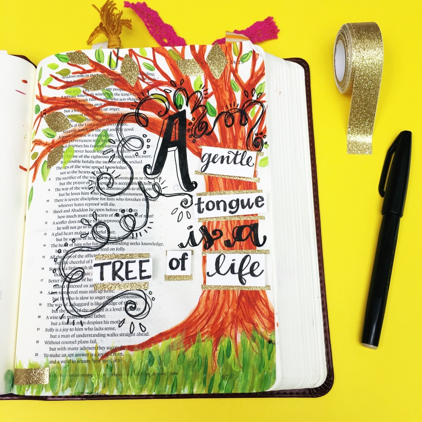 Bible Journaling Entry Proverbs 15 4